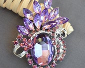 Rhinestone Brooch Embellishment Purple Crystal Wedding Brooch Bouquet Cake Invitation Hair Comb Shoe Clip DIY Supplies BR445
