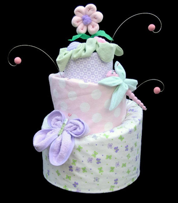 Items similar to butterfly shower diaper cake dragonfly for Baby shower decoration butterfly