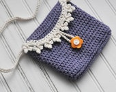 Crocheted Girl's Purse - Crochet Bag - Fashion Purse - Crochet - Purple - Orange