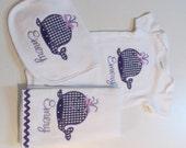 Baby Girls, Bib, Burpcloth and Onesie Set with Whale Applique in Purple Gingham, Purple Ric Rac, Monogram
