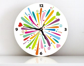 Rainbow Color burst colorful large Modern kids bedroom kitchen living room unique handmade graphic design wall clock