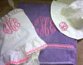 Boutique Monogrammed Matching Children's Swimsuit, Towel, and Hat Set