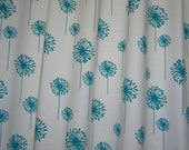 """Pair (two 50""""W panels) designer curtain panels drapes, dandelion turquoise blue and white"""