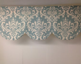 RTS Lined scallop valance, 42 x 16 inches, village blue, robins egg blue, natural, damask,