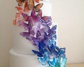 BUY 50 get 10 FREE  rainbow butterflies - wedding cake decoration - cake decoration - edible butterflies by Uniqdots on Etsy