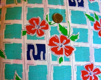 Vintage Full Feedsack Cotton Fabric -  - STILLaSACK -  Turquoise Background with Navy Blue and Red Flowers  - 36 x 42