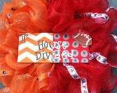 House Divided Custom Deco Mesh Wreath for Stephodom by Silk N Lights Designs