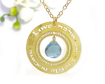 Gold necklace, Affirmation jewelry Blue London Topaz, gold jewelry, gold pendant, modern jewelry, love jewelry, multilingual, love jewellery
