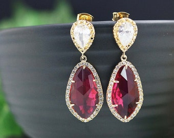 Wedding Jewelry Bridal Earrings Bridesmaid Earrings Dangle Earrings LUX Red Ruby with cubic zirconia drop Earrings