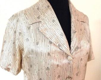 Vintage 1950s Artichoke Print Silk Dress
