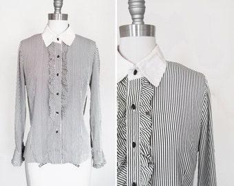 Vintage 80s Silk Striped Secretary Blouse with Ruffles Black and White sz Medium - Large
