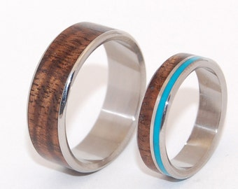 wedding rings, titanium rings, wood rings, mens rings, Titanium Wedding Bands, Eco-Friendly Rings,  - WOODED COVE and HIDDEN forest