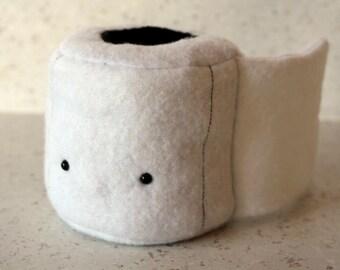 Peluche papier toilette - PQ humour cute kawaii blanche