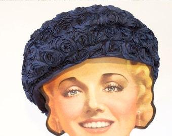 Vintage Women's Hat - Blue 1950s Marilyn of California Navy Blue Ruffled flower pillbox Hat