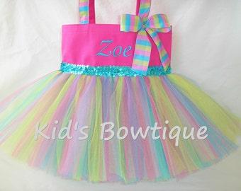 Monogrammed Tutu Tote Bag - Personalized Hot Pink Lime and Aqua Tutu Bag- Dance Tutu Tote Bag