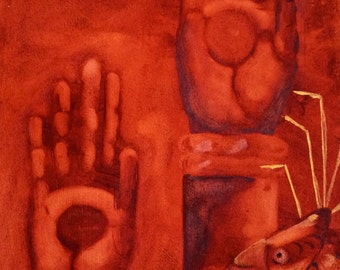 "Contemporary Art ""Hands"" Original Oil on Canvas 13X21.5"