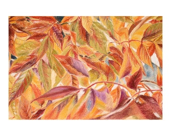 Fall Leaves Pastel Print- Weeping Crabapple Tree- Fall Leaves- 5x7