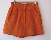 Reserved for Gemma.  Vintage Orange Suede Short Shorts