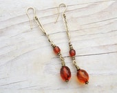 Long Baltic Amber Drop Earrings, Translucent Cognac Faceted Vintage Amber Beads, Brass Metal Dangle Earrings