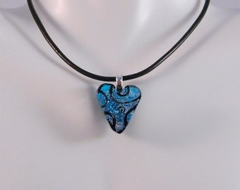 Dichroic Etched Fused Glass Charm Pendant, Turquoise Heart