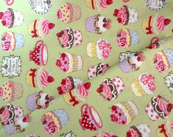 Japanese fabric, Lolita fabric, Cupcakes fabric, Retro fabric, Cotton fabric, Green fabric, French cakes, 1/2 yard FB116