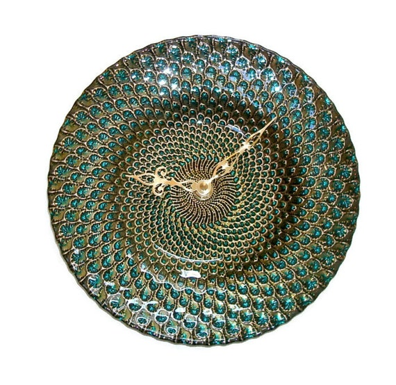 Wall Decor Glass Plates : Glass plate wall clock turquoise gold home decor by