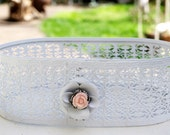 Metal Basket Upcycled Repurposed White