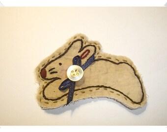 Bunny/ Muslin Fabric- Ornament, Magnet, Pin OR Key Ring/Handmade*
