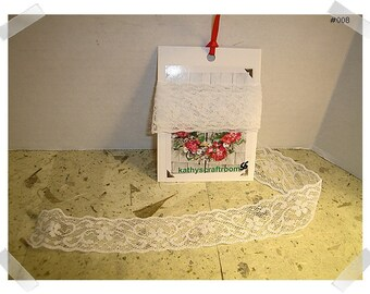 Lace Trim /White/1 & 1/2 yards/Craft Supplies/ (#008)**