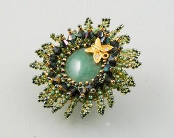 Flower Brooch, Green Aventurine, Gold Plate 14k  Butterfly,Swarovski Beadwork Broohe, OOAK