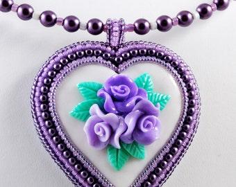 Heart Pendant Polymer Clay, Flowers Purple Beadwork Necklace, Shabby Chic, OOAK