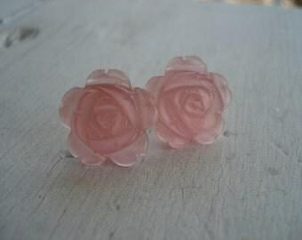 Vintage Iced Pink Crystal Glass Rose Pierced Earrings
