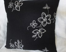"""Black linen pillow cover, white embroidered flowers, elegant pillow cushion, 16 inches, 18"""", 20 inches"""