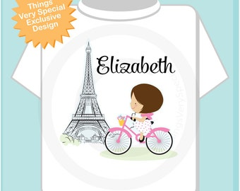 Paris Girl's Shirt, Pink Bicycle riding past Eiffel Tower, Personalized with Name (02102014h)