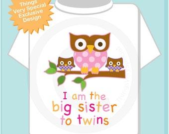 Big Sister Shirt I am the Big Sister To Twins Owl Tee Shirt or Big Sister Onesie Pregnancy Announcement, Owl Big Sister (04072014g)