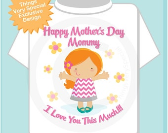 Girl's Happy Mother's Day Mommy Shirt or Onesie for kids, Says I Love You This Much Red Headed girl (04072014i)