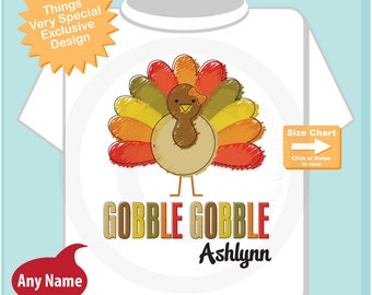 Girl's Gobble Gobble Thanksgiving Turkey Personalized Shirt or Onesie (10152012a)