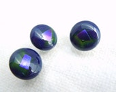 Blue Lagoon! Fused Glass Buttons, Art Button, purple, navy blue, green, dichroic, sewing button, knitting supplies, round, three