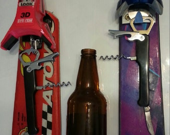 Bottle Opener Hanger made from recycled ski tail makes is a great apres ski gift for any man cave.
