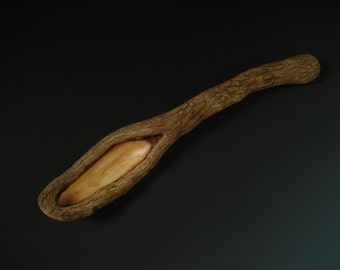 RHODODENDRON LIMB SCAR with live edge wooden spoon hand carved by Spoontaneous, wood spoon, wood carving, art spoons, spoon, carved spoon