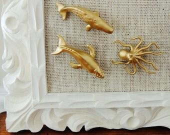 Decorative Magnet Push Pins Thumbtacks Pushpin Thumb Tack Gold Whale Octopus Office Supplies Decor Unique Gift Idea