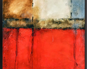Urban Red - 36 x 36 - Abstract Acrylic Painting- Modern Contemporary Wall ARt