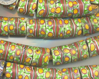 Antique African Trade Bead Venetian Millefiori Red,Yellow, Green & Harlequin, 3 Designs, TBM2.TBM11.TBM36*