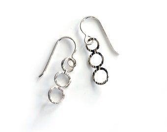 Sale! Bubble dangle earrings with hammer texture handmade in solid sterling silver , lightweight drop earrings with three circles or rings