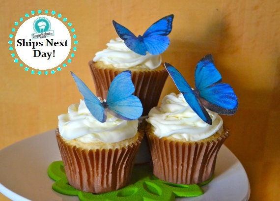 Wedding Cake Topper EDIBLE Butterflies by Sugar Robot - Large Assorted Blue - Edible Cake and Cupcake Decorations