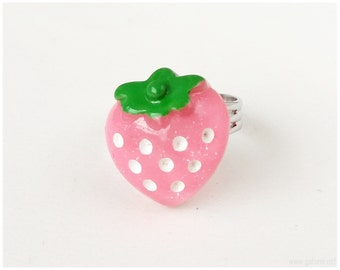 Pink Strawberry Ring, Adjustable, Silver Tone - Sweet Lolita, Harajuku Street Fashion