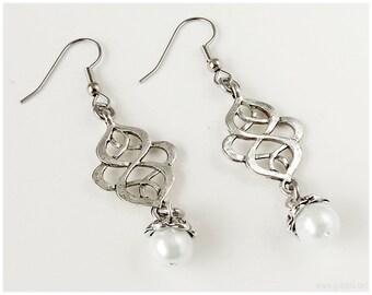 Celtic Knot Earrings, White Glass Pearls, Long, Chandelier - Boho Chic, Gyaru