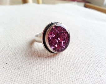 Glitter Ring Resin Jewelry Minimalist Bridal Gift For Her Purple Pink Sparkle Ring Funky Unique Sparkly Gift Ideas