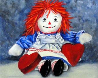 Raggedy Ann with Hearts - Original Oil Painting on 12x12 Wrapped Canvas