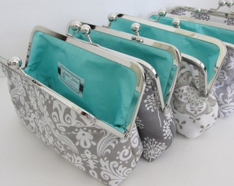 Custom Bridesmaid Gift, Clutch Purse, Grey and White with Aqua Lining, Bridesmaid Gift by Cutiegirlie